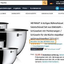 Amazon Brandstore Nutzung - Produktseite