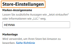 Amazon Brandstore - Einstellungen