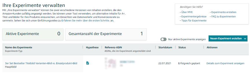 Amazon A/B Testing - Experimente verwalten